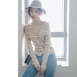 Wholesale Korean Garments Red - Korean One Word Lead Sweater Woman Autumn And Winter Pullover Long Sleeve Sexy Compact Knitting Rendering Unlined Upper Garment Stripe Strap