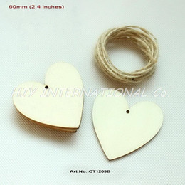 """Wholesale Unfinished Wooden - Wholesale-(50pcs lot) 60mm Blank Unfinished Wooden Heart Wedding Tags Supplies Wishing Favor Hand stamped Rustic Tags 2.4""""-CT1203B"""