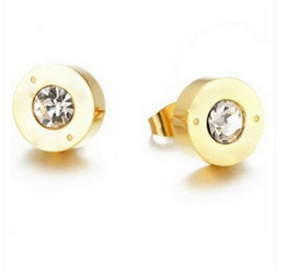 Wholesale Stainless Steel Couple Rhinestone - Low - cost wholesale foreign trade bursts single earrings rose gold foreign trade male and female couple earrings