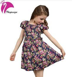 Wholesale Vestido Flower Baby - New 2017 European Style Baby Girls Dress Summer Cotton Short-Sleeve Flowers Floral Dresses Vestido Infantil Children's Clothing