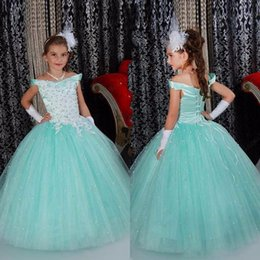 Wholesale Elegant Gowns For Little Girls - Off Shoulder Neck Ball Gown For Little Girls Pageant Dresses Tulle Gown Floor Length White Appliques Lace Up Back Cheap Price Elegant Sweet