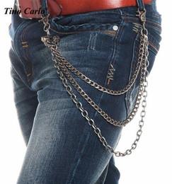 Wholesale Heavy Pants - 2017 Men Heavy 3 Strands Gunmetal Rock Skull Head Wallet Chains KeyChain Punk Skeleton Jeans Chains Hip Hop pant chains body chain
