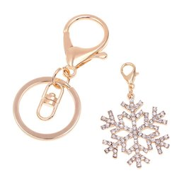 Wholesale Women Handbag Jewelry - 1 Pc Fashion Crystal Snowflake Pendant Keychain Cute Gold Plated Handbag Key Ring For Women Jewelry Chrismas Gift Multifunction