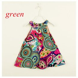 Wholesale Down Lining - 2-7Years Baby Dress Summer Cute Baby Girl Colorful Raindrop Printing Turn-down Collar Soft Cotton Dress Sunflower Girl Dress
