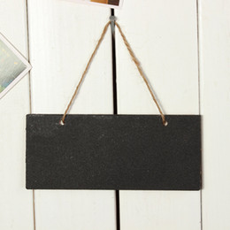 Wholesale Mini Message Chalkboard - 2pcs Wooden Mini Blackboard Small Hanging Chalkboard Message Memo Note Board Wordpad with String Wedding Party Decoration