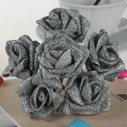 Wholesale Decoration Foam Flowers - 60pcs Hot Silver Powder Spraying Foam Rose Flower Artificial Flower Flowers Wedding Home Decoration Bride Bouquet Golden Powder DIY Flowers