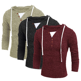 Wholesale false knitting - Wholesale- items! Men's Casual False-two Knitwear Long Sleeve Strap Button Pullover Sweater