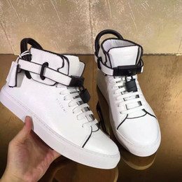 Wholesale Designer Wedges Boots - White Genuine Leather Wedges 950 Men Boost Shoe Lock Logo Ankle Boot High Top Designer Shoe Women 750 Leisure Sneakers Plus Size 36-46