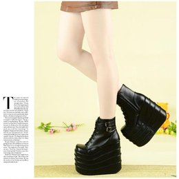 Wholesale Lolita Wedges Shoes - Free shipping Fourever-sd lolita 16cm platform shoes black buckle High-heeled shoes with the Queen's buckle cosplay special boots
