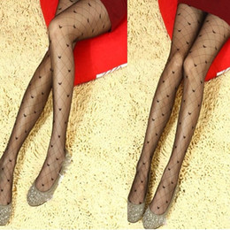 Wholesale Girls Nylon Socks - Wholesale-New Sexy Girl Ladies Fishnet Dots Heart Bowknot Pantyhose Stockings Tights Black