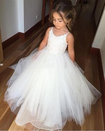 Wholesale Cheap Christmas Dresses For Toddlers - Cheap Flower Girls Dresses Tulle Lace Top Spaghetti Formal Kids Wear For Party 2017 Free Shipping Toddler Gowns