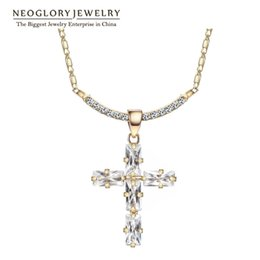 Wholesale Christian Jewelry For Women - Wholesale Rhinestone Gold Plated Crosses Religious Christian Neoglory Choker Pendant Necklaces For Women Crystal Jewelry 2016 Hot Sell