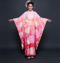 Wholesale Traditional Japanese Women Dress - Pink Japan Women Geisha Kimono Japones Yukata Japanese Kimono Traditional Vintage Prom Dress One Size Kimonos Japoneses