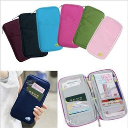 Wholesale Colorful Zip Wallets - Hot Selling New Colorful Travel Wallet Passport Ticket ID Credit Card Holder Cover Organiser Bags handbag Zip Document Bag ak053
