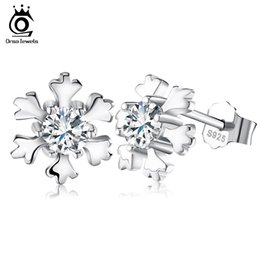 Wholesale Earring Snowflake Silver - Genuine 925 Sterling Silver Snowflake Earring Studs with Shiny CZ Crystal Romantic Party Ear Jewelry for Women SE12