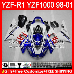 8Gift 23Color Body Per YAMAHA YZF1000 YZFR1 98 99 00 01 YZF-R1000 bianco blu 61HM7 YZF 1000 R 1 YZF-R1 YZF R1 1998 1999 2000 2001 Carena da