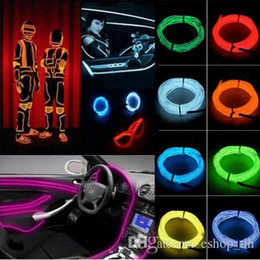 Wholesale Led Glow Clothes - 1M 2M 3M 5M 3V Flexible Led Neon Light Glow Wire Rope Tape Cable Neon Lights Shoes Clothing Car Interior Waterproof led Strip