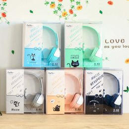 Wholesale Cute Chinese Girls - New Birthday Gifts Cute Cat Macarons Headphones Candy Color Kids Headset Earphone for IPhone Samsung Girl Children Xiaomi PC L
