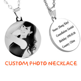 Wholesale Photo Engravings - Hot Sale Personalized Engraved Stainless Steel Necklace,custom Photo Necklace for Women Lady Girls Gift