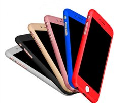 Wholesale Iphone Red Screen Protector - Ultra-thin Phone Case Hybrid 360 Degree Full Body Shell with Tempered Glass Screen Protector for iPhone7 7plus 6s 5s Protective Cover