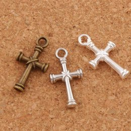 Wholesale Flag Cross - Nail Cross Charms Pendants 150pcs lot 3Colors Antique Silver Bronze Pendant Jewelry DIY L482 11.1x20.7mm