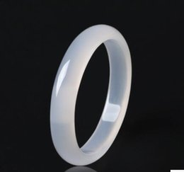 Wholesale Ice Jade Bangle - natural ice kind authentic white chalcedony bracelet narrow side bracelet