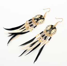Wholesale mix match earrings - European and American fashion disc tassel earrings European and American national style mix and match color earrings