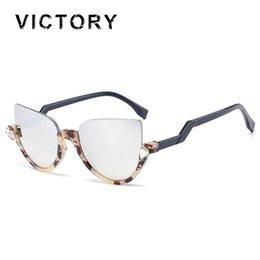 Wholesale Wholesale Half Shaded Sunglasses - Wholesale-New Vintage Cat Eye Women Sunglasses Bend Temple Half Frame Bling Bling Diamond Lady UV400 Sun Glasses Fashion Shades Free Ship