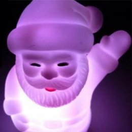 Wholesale Small Color Changing Led Lights - Wholesale- 7 Color Changing Christmas Claus Small LED Night Lamp christmas lights decorations Gift for children
