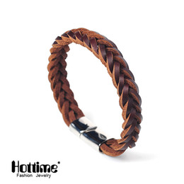 Wholesale Mens Braided Steel Jewelry - Wholesale- Hottime 2 Color Titanium Steel Multilayer Braided Leather Bracelets Men Bangle Men Jewelry Genuine leather Bangles For Mens PG41