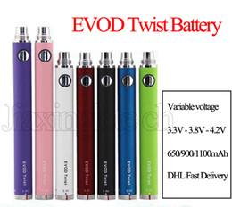 Wholesale Mt3 C E - EVOD Twist Battery Electronic Cigarette Ego C Variable Voltage 650 900 1100mah For EVOD MT3 CE4 Atomizer 510 Thread Atomizer Kit E cigarette