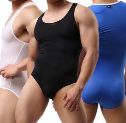 Wholesale Transparent Teddies - Sexy Men's Singlet Body Building Transparent Exotic ice silk Teddies Underwear Bikini Shirt One-Piece Bodysuits Size M L XL