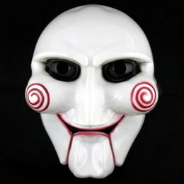 Wholesale Scary Saw Masks - Electric Saw Mask Halloween Cosplay Party Saw Horror Movie Saw Billy Mask Jigsaw Puppet Adam Creepy Scary Free Shipping