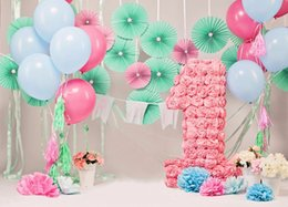 Wholesale flowers balloon - 7x5ft Baby's 1st Birthday Photography Backdrops Flowers Balloons Cute Newborn Baby Shower Background Cloth for Photo Studio