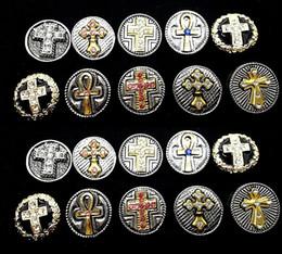 ganci di bottoni antichi Sconti 10pcs / lot mescolano gli stili che intercambiabili 18mm che attraversano i bottoni di fascini di retro Rhinestone dell'annata misura i monili di scatti diy brandnew