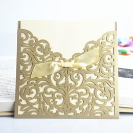 Wholesale Gold Bow Invitation - Wholesale-30 Pcs Lot Lace Ribbon Bow Knot Wedding Invitation Card Vintage Laser Cut Gold Hollow Flowers Blank Inside With Envelope