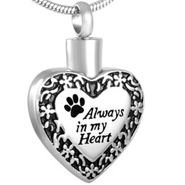 Wholesale Eternity 316l - IJD8480 316L Stainless Steel Always In My Heart Pet Eternity Paw Waterproof Cremation Urn Necklace Ash Memorial Jewelry