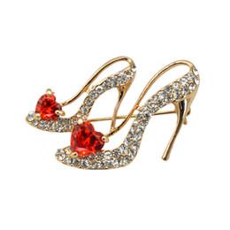 Wholesale Wholesale High Heel Slippers - Wholesale- Size combination Optional Crystal High Heel Desgin Cinderella's Glass Slipper Love Heart Zircon Brooch Pin For Women