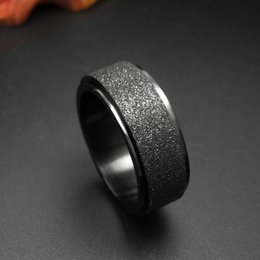 Wholesale Wholesale Stainless Steel Wedding Bands - Mens Wedding Band Rings Classic Black Titanium Steel Engagement Ring Dome Charm Matte Finished Men Fashion Jewelry Bague Anel