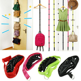 Wholesale Over Door Adjustable Straps Hanger - Wholesale- 2016 Straps Hanger Adjustable Over Door Hat Bag Clothes Rack Holder Organizer 8 Hooks