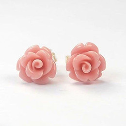 Wholesale Red Coral Stud Earrings Silver - 3 color Fashion Jewelry Coral 925 Sterling Silver Stud Earrings