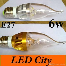 Wholesale Candel Light Led Bulb - 10X Dimmable Led Candel Light E12 E14 E27 Led Lamp Bulb 6w 600lm CRI85 AC85-265v Warm Cold White UL CE cUL