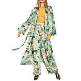 Wholesale Kimono European Style - Women Vintage Floral Kimono Coat Open Stitch Sashes Outerwear Ladies European Style Casual Fashion Long Tops