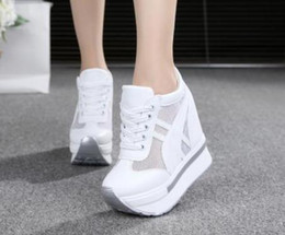Wholesale Closed High Heels - 2017Women Shoes Sexy Wedges Super High Heels 12CM Lace Up White Casual Shoes Women's Party Shoes