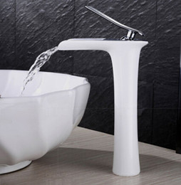 Wholesale Chrome Bathroom Sink - Wholesale- New Arrivals Chrome and white color Waterfall Faucet Tall Bathroom Faucet Bathroom Basin Mixer Tap with Hot and Cold Sink faucet