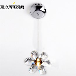 Wholesale Diy Crystal Knobs - DIY Mini Modern Flower Crystal Pendant Lights Hanging Lamp Crystal Lighting Fixture Droplights For Dining Bedroom Free Shipping