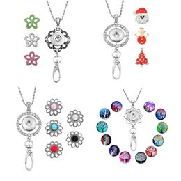 Wholesale Pendant Flower Life - Newest Trendy Office Lanyard ID Snap Necklace Set With Christmas Life Tree Flower Noosa Charms Button Jewelry Pendant Gift N6L