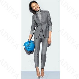 Wholesale Ol Set - Light Gray Women Business Suits Formal Office Long Sleeve Ladies Trouser Suit Casual Female Slim OL 2 Pieces Sets Blazers Custom