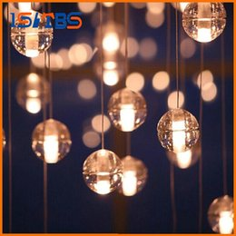Wholesale Light Bar Living Room - G4 LED Crystal Glass Ball Pendant Lamp Meteor Rain Ceiling Light Meteoric Shower Stair Bar Droplight Chandeliers Lighting AC110V-240V