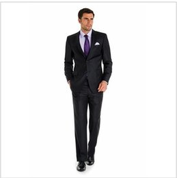 Wholesale Men S Wedding Suit Back - Custom Made high quality worsted 150's pure wool blue color Mens Wedding tuxedos tailor slim fit best men suits 2 pcs